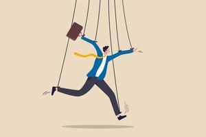 gestion d'entreprise, manipulation de personnes ou pouvoir de dominer le concept d'actions, faux homme d'affaires prétendant être intelligent avec une corde ou une ficelle en tant que poupée de marionnettiste contrôlée ou influencée par le patron du pouvoir. vecteur