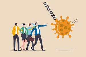 arrêter la pandémie de coronavirus covid-19 provoquant une crise financière, un stimulus économique pour aider à protéger l'entreprise du concept de faillite, des hommes d'affaires immunisés contre le virus font équipe pour protéger le coronavirus de la boule de démolition. vecteur