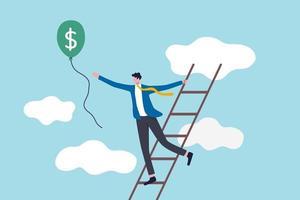 échelle du succès, réalisation d'objectifs financiers ou investisseur à la recherche d'un concept de profit et de retour sur investissement, homme d'affaires prospère gravir les échelons jusqu'au nuage pour attraper un ballon avec de l'argent en dollars vecteur