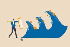protection des entreprises et immunité contre le concept de deuxième vague du coronavirus covid-19, chef d'homme d'affaires courageux tenant un bouclier solide pour protéger et contrôler les entreprises contre les ondes pathogènes du coronavirus. vecteur