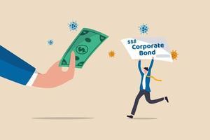 la réserve fédérale a acheté des obligations d'entreprise pour soutenir la liquidité après le concept de crise économique du coronavirus covid-19, la banque centrale nourrie la main tenant un billet de banque américain avec un homme d'affaires détenant une obligation d'entreprise. vecteur