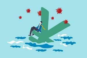 Japon crise financière ou récession due au concept d'épidémie de coronavirus covid-19, homme d'affaires sans emploi portant un masque facial assis sur le symbole du yen japonais s'enfonçant dans l'océan avec un virus pathogène.