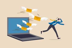 surcharge de courrier électronique trop de courriers indésirables qui réduisent l'efficacité et la productivité dans le concept de gestion du travail et du temps, le gars de bureau d'homme d'affaires fuit la surcharge de la lettre de courrier volante de l'ordinateur portable. vecteur
