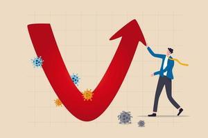 récupération économique en forme de v après le concept d'accident du coronavirus covid-19, homme d'affaires professionnel analyser l'économie mondiale, l'entreprise va récupérer et restaurer avec un graphique en forme de v et un graphique avec un virus pathogène vecteur