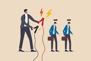 recharge des employés pour augmenter la productivité, augmenter l'énergie pour travailler ou se recharger après un concept de quarantaine de coronavirus de longue date, le gestionnaire tient un énorme câble de charge prêt à charger les employés à batterie faible. vecteur