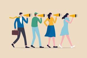 stratégie marketing, bouche à oreille, les gens parlent à un ami de bons produits et services, racontent une histoire ou un concept de communication de manière verbale, les gens utilisent un mégaphone pour raconter une histoire à leurs amis. vecteur