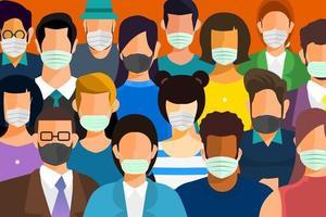 les gens portent des masques pour se protéger contre le covid-19 vecteur