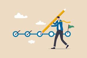 suivi de projet, suivi des objectifs, achèvement des tâches ou liste de contrôle pour rappeler le concept d'avancement du projet, chef de projet homme d'affaires tenant un gros crayon pour vérifier les tâches terminées dans le calendrier de gestion de projet. vecteur