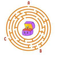 labyrinthe de cercle. jeu pour les enfants. puzzle pour les enfants. énigme de labyrinthe rond. illustration vectorielle de couleur. trouver le bon chemin. feuille de travail de l'éducation.