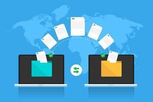 transfert de données avec la technologie cloud Internet vecteur