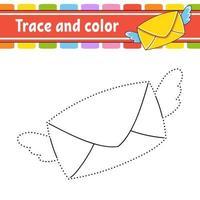 trace et enveloppe de couleur. coloriage pour les enfants. pratique de l'écriture manuscrite. feuille de travail sur le développement de l'éducation. page d'activité. jeu pour les tout-petits. illustration vectorielle isolé. style de bande dessinée.