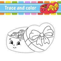 tracez et coloriez des bonbons. coloriage pour les enfants. pratique de l'écriture manuscrite. feuille de travail sur le développement de l'éducation. page d'activité. jeu pour les tout-petits. illustration vectorielle isolé. style de bande dessinée.
