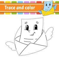 trace et lettre de couleur. coloriage pour les enfants. pratique de l'écriture manuscrite. feuille de travail sur le développement de l'éducation. page d'activité. jeu pour les tout-petits. illustration vectorielle isolé. style de bande dessinée.