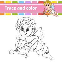 trace et couleur ange. coloriage pour les enfants. pratique de l'écriture manuscrite. feuille de travail sur le développement de l'éducation. page d'activité. jeu pour les tout-petits. illustration vectorielle isolé. style de bande dessinée.