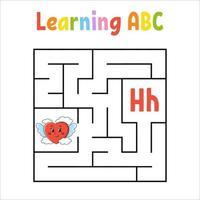 coeur de labyrinthe carré. jeu pour les enfants. labyrinthe quadrate. feuille de travail de l'éducation. page d'activité. apprendre l'alphabet anglais. style de bande dessinée. trouver le bon chemin. illustration vectorielle de couleur.