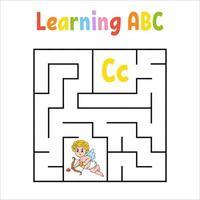Cupidon labyrinthe carré. jeu pour les enfants. labyrinthe quadrate. feuille de travail de l'éducation. page d'activité. apprendre l'alphabet anglais. style de bande dessinée. trouver le bon chemin. illustration vectorielle de couleur.