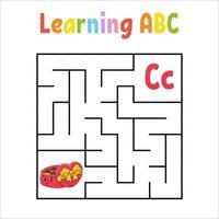 bonbons de labyrinthe carré. jeu pour les enfants. labyrinthe quadrate. feuille de travail de l'éducation. page d'activité. apprendre l'alphabet anglais. style de bande dessinée. trouver le bon chemin. illustration vectorielle de couleur.
