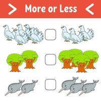 plus ou moins. feuille de travail d'activités éducatives pour les enfants et les tout-petits. illustration vectorielle de couleur isolée dans un style de dessin animé mignon.