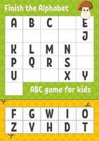 terminer l'alphabet. jeu abc pour les enfants. couper et coller. feuille de travail sur le développement de l'éducation. jeu d'apprentissage pour les enfants. page d'activité couleur.