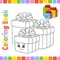 livre de coloriage pour cadeau pour enfants. thème d'hiver. caractère joyeux. illustration vectorielle. style de dessin animé mignon. page fantastique pour les enfants. silhouette de contour noir. isolé sur fond blanc.