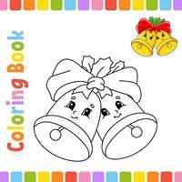 livre de coloriage pour enfants cloches. thème d'hiver. caractère joyeux. illustration vectorielle. style de dessin animé mignon. page fantastique pour les enfants. silhouette de contour noir. isolé sur fond blanc.