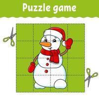 jeu de puzzle pour les enfants avec bonhomme de neige. thème d'hiver. feuille de travail sur le développement de l'éducation. jeu d'apprentissage pour les enfants. page d'activité couleur. pour tout-petit. énigme pour l'école maternelle. illustration vectorielle isolé en style cartoon.