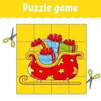jeu de puzzle pour les enfants en traîneau. thème d'hiver. feuille de travail sur le développement de l'éducation. jeu d'apprentissage pour les enfants. page d'activité couleur. pour tout-petit. énigme pour l'école maternelle. illustration vectorielle isolé en style cartoon.