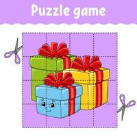 jeu de puzzle pour les enfants avec un cadeau. thème d'hiver. feuille de travail sur le développement de l'éducation. jeu d'apprentissage pour les enfants. page d'activité couleur. pour tout-petit. énigme pour l'école maternelle. illustration vectorielle isolé en style cartoon.