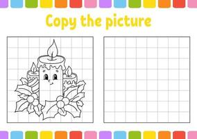 copiez la bougie d'image. thème d'hiver. pages de livre de coloriage pour les enfants. feuille de travail sur le développement de l'éducation. jeu pour les enfants. pratique de l'écriture manuscrite. personnage drôle. illustration vectorielle de dessin animé mignon.