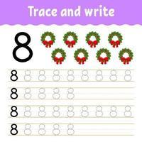 apprendre le numéro 8. tracer et écrire. thème d'hiver. pratique de l'écriture manuscrite. apprendre les nombres pour les enfants. feuille de travail sur le développement de l'éducation. page d'activité couleur. illustration vectorielle isolé dans un style dessin animé mignon. vecteur