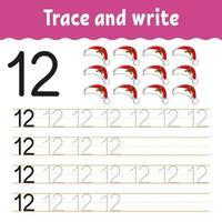 apprendre le numéro 12. tracer et écrire. thème d'hiver. pratique de l'écriture manuscrite. apprendre les nombres pour les enfants. feuille de travail sur le développement de l'éducation. page d'activité couleur. illustration vectorielle isolé dans un style dessin animé mignon. vecteur