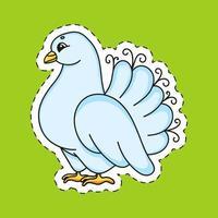 autocollant avec colombe de contour. personnage de dessin animé. illustration vectorielle coloré. isolé sur fond de couleur. modèle pour votre conception. vecteur