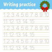 apprendre les nombres. trace et écrit. thème d'hiver. pratique de l'écriture manuscrite. apprendre les nombres pour les enfants. feuille de travail sur le développement de l'éducation. page d'activité couleur. illustration vectorielle isolé dans un style dessin animé mignon. vecteur