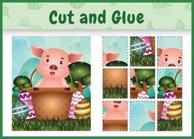 Jeu de société pour enfants découpé et collé sur le thème de Pâques avec un cochon mignon dans l'oeuf du seau vecteur