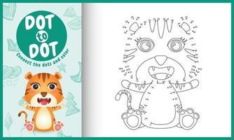 connectez le jeu et la page de coloriage pour enfants points avec une illustration de personnage de tigre mignon vecteur
