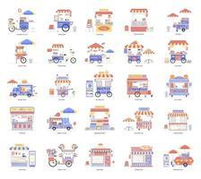 chariots et stands de nourriture de rue vecteur