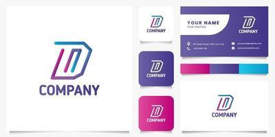 logo de lettre d ligne 3d dégradé coloré avec modèle de carte de visite vecteur