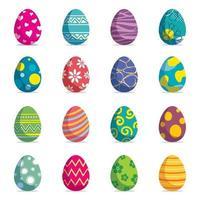ensemble d'oeufs de Pâques fond isolé. nouveau design moderne de vecteur avec différentes couleurs et motifs.