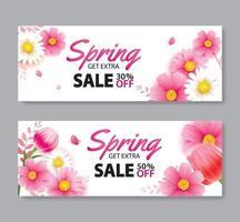 bannière de couverture de vente de printemps avec modèle de fond de fleurs épanouies. conception pour la publicité, flyers, affiches, brochure, invitation, réduction de bon. vecteur