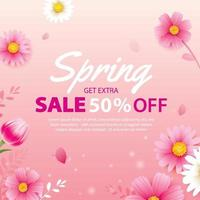 bannière de vente de printemps avec modèle de fond de fleurs épanouies. conception pour la publicité, flyers, affiches, brochure, invitation, réduction de bon. vecteur
