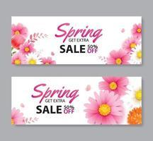 bannière de bon de vente de printemps avec modèle de fond de fleurs épanouies. conception pour la publicité, flyers, affiches, brochure, invitation, remise de couverture. vecteur