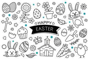 oeufs de Pâques doodle dessinés à la main sur fond blanc. objets d'élément isolés de joyeuses pâques. vecteur