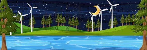 scène horizontale de la nature la nuit avec de nombreuses éoliennes