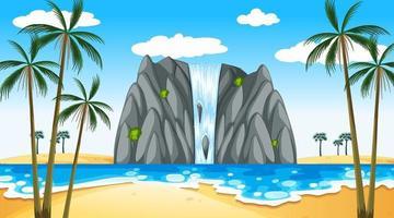 paysage de plage tropicale à la scène de jour avec cascade vecteur