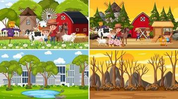 ensemble de fond de scènes de nature différente en style cartoon
