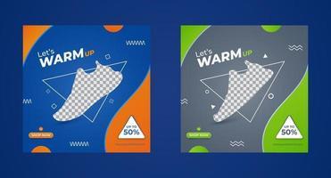 ensemble de modèles de bannière carrée de promotion de vêtements de sport