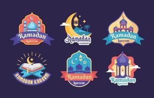 collection d'étiquettes ramadan plat vecteur