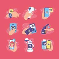 nouvelle icône de la technologie sans contact normale vecteur