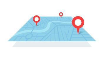 plan de la ville avec des épingles de lieu gps fluviales et un itinéraire de navigation allant des marqueurs de point a à b. Schéma de localisation illustration isométrique de la vue en perspective de couleur bleue de vecteur