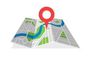 Cartographie des rues de la ville carte pliée avec pointeur de broche de localisation de navigation. trouver l & # 39; illustration vectorielle de chemin direction concept vecteur
